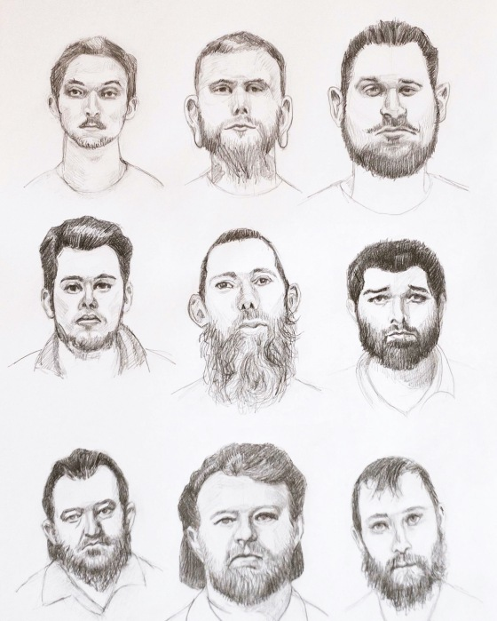 "Mugshots of 10 of the 11 morons arrested for plotting to kidnap the governor, graphite on paper, 14"" x 8.5"""