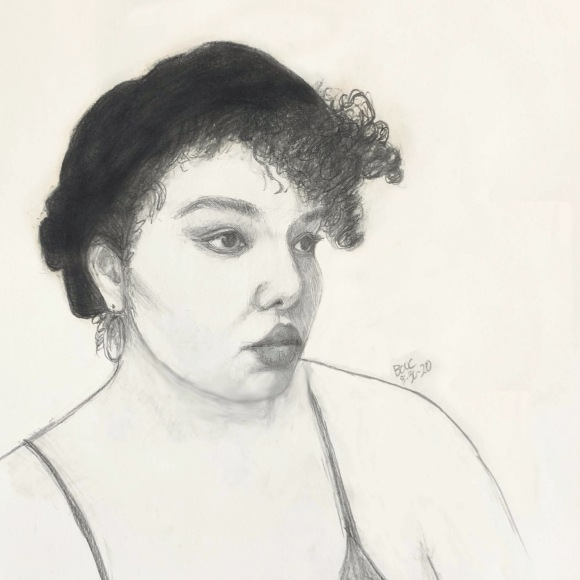 Sketch of Michelle from Sktchy, graphite, 12x9""