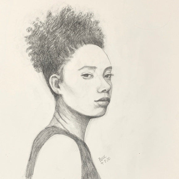 Sketch of Tajh G from Sktchy, graphite, 12x9""