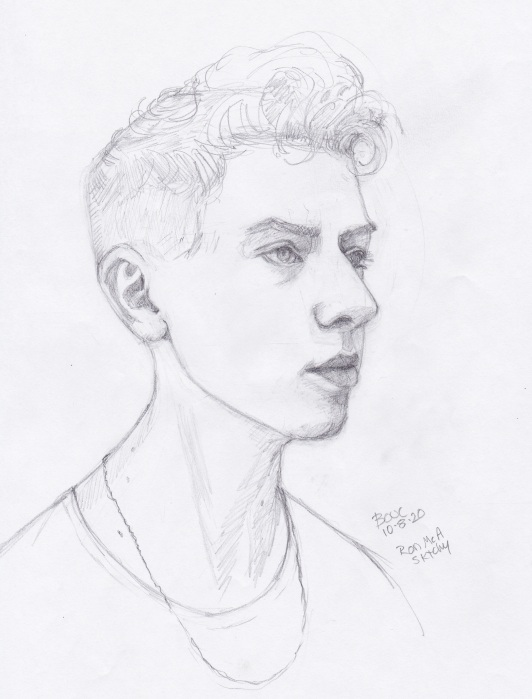 "Pencil Sketch of Ron McA from Sktchy, 11x8.5"", graphite"