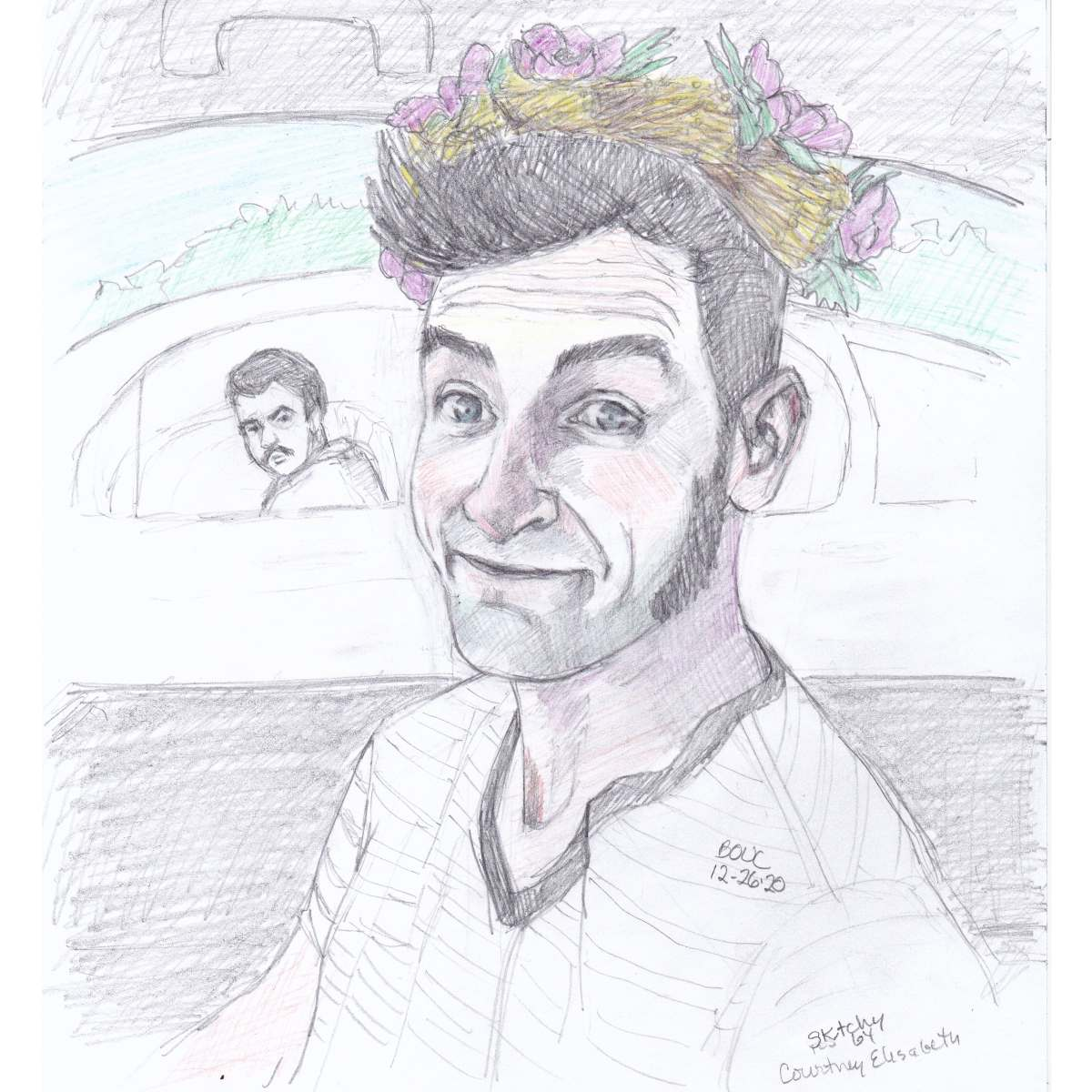 """Happy Flower Garland with Onlooker, graphite and colored pencil on paper, 11x8"""""""