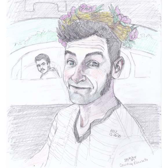 Happy Flower Garland with Onlooker, graphite and colored pencil on paper, 11x8""