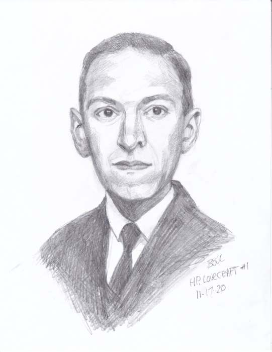 HP Lovecraft #1, graphite on paper, 11x8""