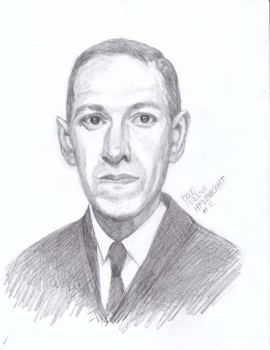 HP Lovecraft #2, graphite on paper, 11x8""