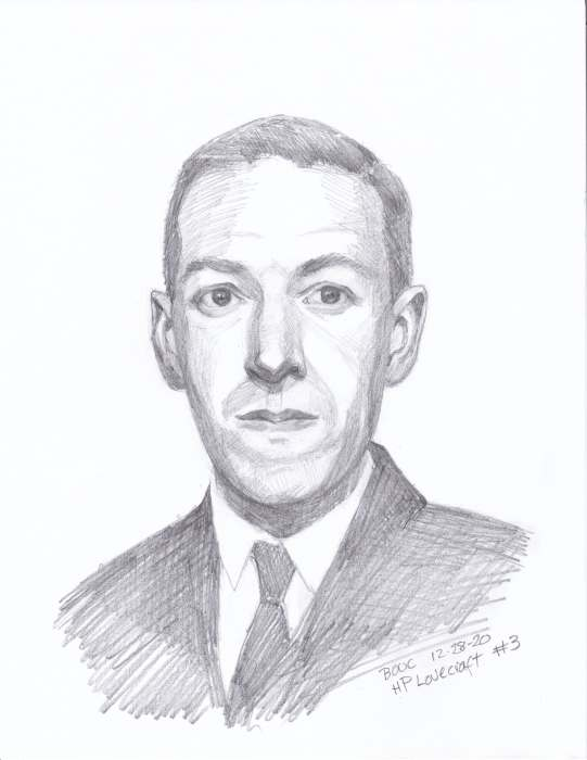HP Lovecraft #3, graphite on paper, 11x8""