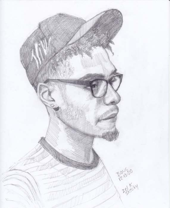 Sketch of Zel from Sktchy, graphite on Xerox paper