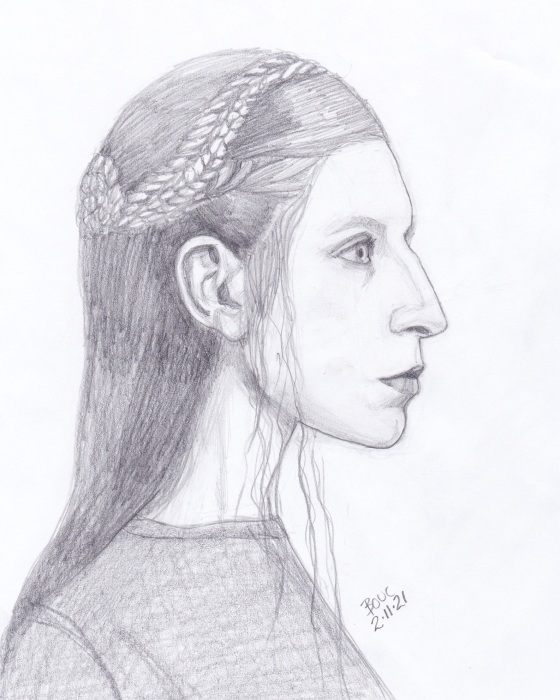 Profile sketch from internet photo, pencil, 10x8 inches
