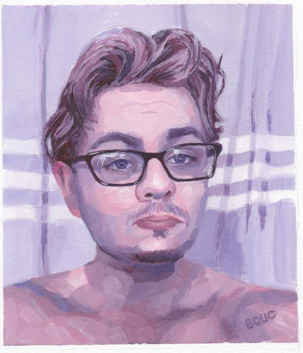 "Alexander H from his bathroom selfie on Sktchy, 8x8"" on watercolor paper"