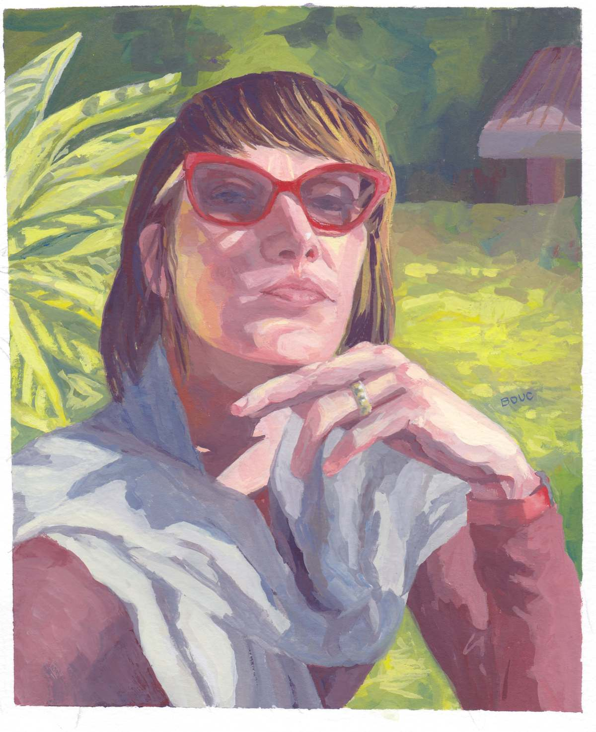Jennifer L. from Sktchy, weird 3-color gouache triadic color scheme, 10x8 inches