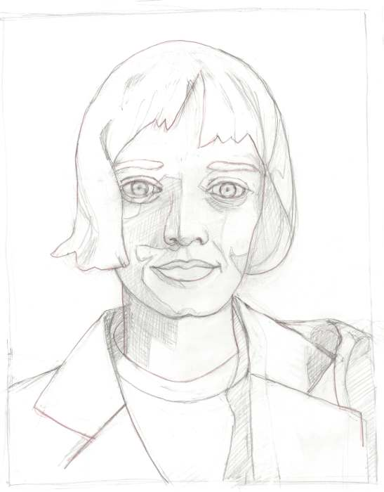 Initial sketch for painting of Kate K.
