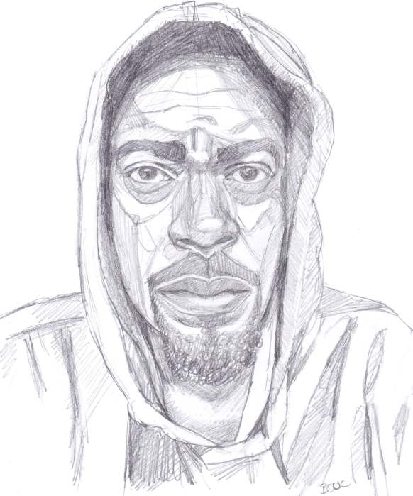 Nate Washington in a grey hoodie, sketched in pencil.