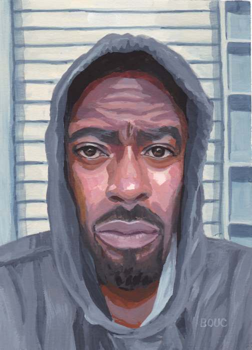 Nate Washington in a grey hoodie, painted in gouache.