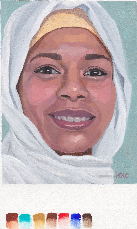 "Woman with Headscarf, gouache, 10x8"""