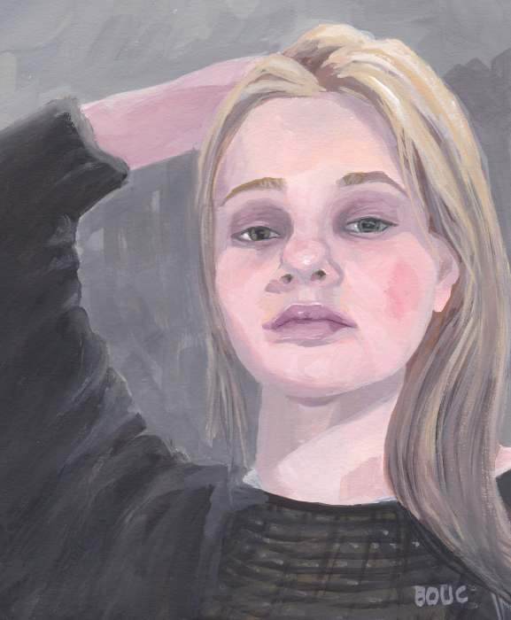 "Failed portrait of Siberian woman, gouache, approx 10x8"""